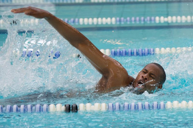 Man swimming front crawl